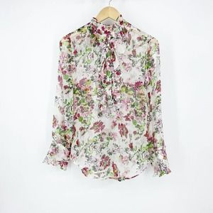 Equipment Floral Silk Tunic Blouse Women's Small
